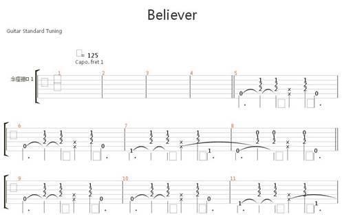 (吉他谱·大佬向)BELIEVER!(扫弦)_WWW.XUNWANGBA.COM